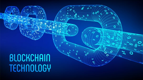 بنری گرافیکی حاوی تصویر زنجیر نشان دهنده تکنولوژی بلاک چین