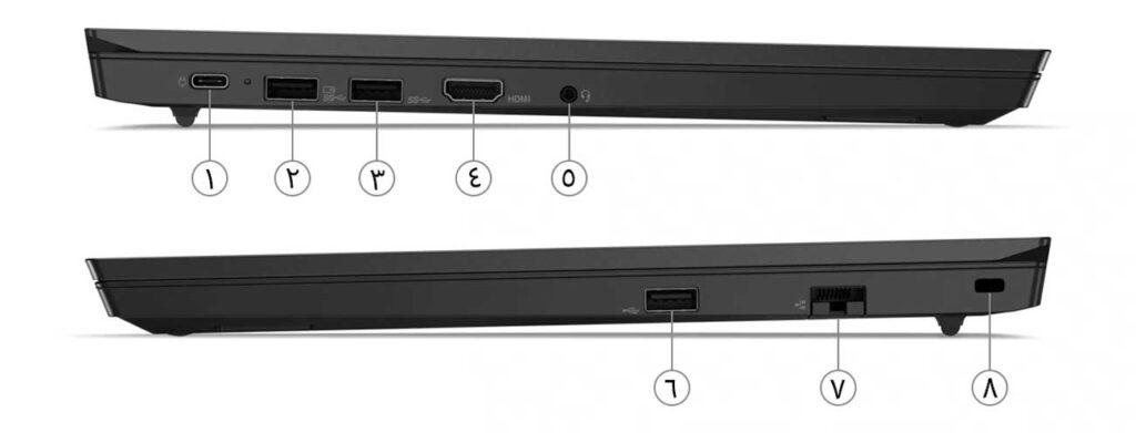 درگاه های دو سمت لپتاپ لنوو مدل Thinkpad E15