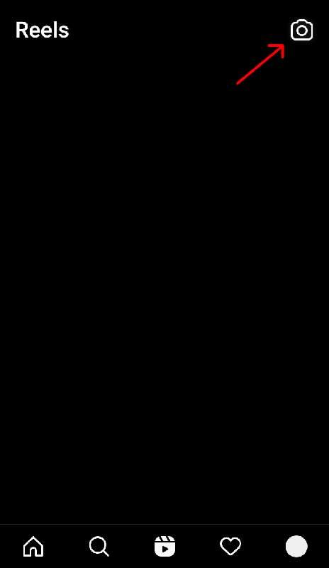 صفحه ریلز و آیکونه دوربین برای ایجاد ریلز